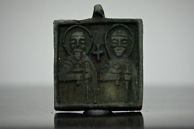 Medieval Period Bronze Decorated Double Sided Icon Pendant 900-1200 AD