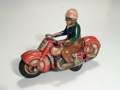 SCHUCO CURVO 1000 Motorrad, US Zone Germany, lithographiert, Tin Toy WindUp