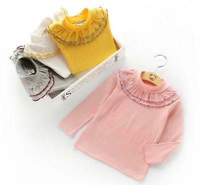 baby kids girls clothes girls long sleeve T shirt girls cotton lace top shirt