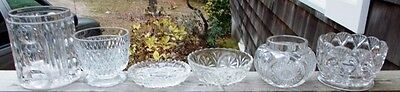~~ LOT OF 6 VINTAGE CLEAR CUT & PRESSED GLASS VASES/BOWLS ~~ Check Them Out>>>>>