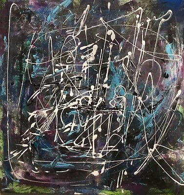 SALE ! Original Abstract Expressionist Painting 20 X 20 Inches LW Jeffrey