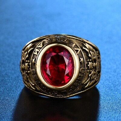 Mens Gold Tone 316L Solid Stainless Steel Red Garnet UNITED STATES VETERAN Ring