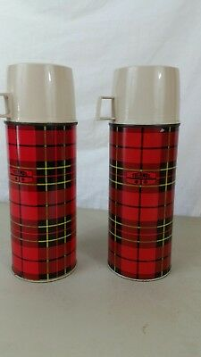 Vintage Thermos King Seely Vacuum Bottle 1 1/2 Pint 2395 Red Plaid lot of 2