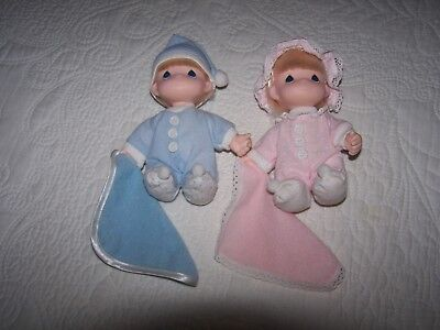 "Precious Moments Vintage 1992 Boy & Girl Dolls In Pj's/hats/blanket 6"" Tall"