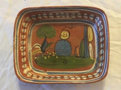 """Vintage Mexico POTTERY Tree/CACTUS/Man Dish Tray 7"""" x 6"""" HAND PAINTED MEXICAN"""