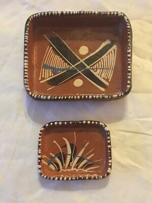 Vintage Mexican Pottery Folk Art Tray Pair Hand Painted