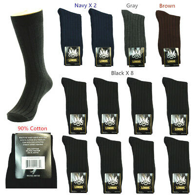 New Lot 12 Pairs Lords Plain Solid Ribbed Men's Dress Socks Fashion Cotton 10-13