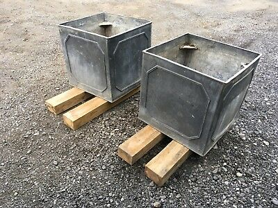 Reduced! Huge Pair Of Antique Solid Lead Planters! Ribbed Pattern. Very Rare!!