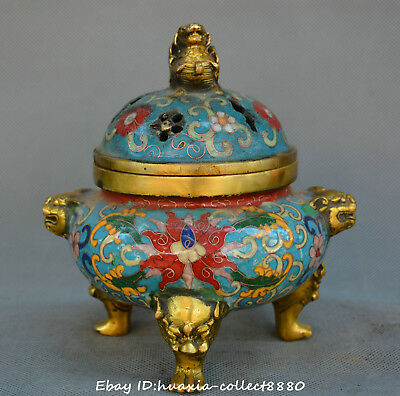 China cloisonne old Bronze lion PiXiu beast flower statue incense burner censer
