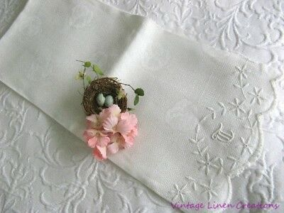 STUNNING Antique PANSY DAMASK Embroidered MONOGRAM T * Vintage LINEN BATH TOWEL