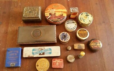 Antique Lot of Advertising Tins, Jewelry Case, Dartmouth L.E Mason Corked Case