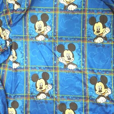 Mickey Mouse Club Vintage Fitted Sheet Full Size Fabric Material Navy