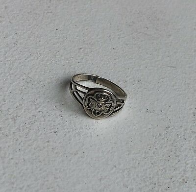 Vintage Girl Scout Sterling Ring - GS USA Girl Scout Adjustable Jewelry