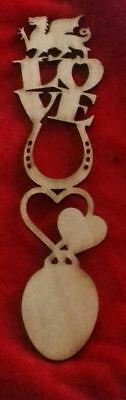 2 x Love spoon design wood bookmark with Welsh dragon & horseshoe Christmas gift