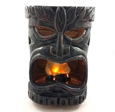 Flaming Tiki Head Decoration Hawaiian Luau Party Decor Battery Operated with Box
