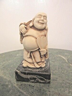 """Vintage Resin Figurine Laughing Happy Smiling Prosperity Buddha 3 1/2"""" Tall"""