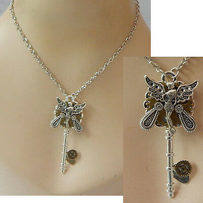Fairy Key Necklace Silver Pendant Jewelry Handmade Assemblage Art Women Chain