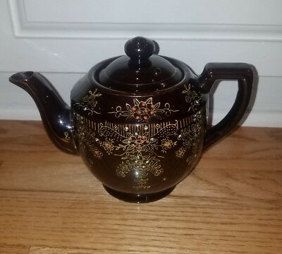 Vintage Japanese Red Clay Glazed Teapot Hand Painted Floral Design 20 Ounces