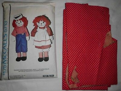 Vintage McCall's Sewing Pattern #5713-Raggedy Ann & Andy Doll & Clothes+Material