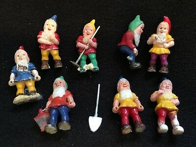 Vintage Celluloid Plastic Mini Elf Gnome Figures Old Hong Kong Made Lot Of 8