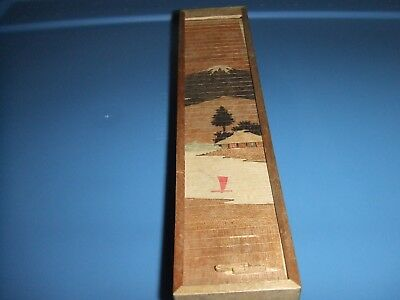 Vintage Roll Top Wooden Pencil Box- Hand Painted Japan