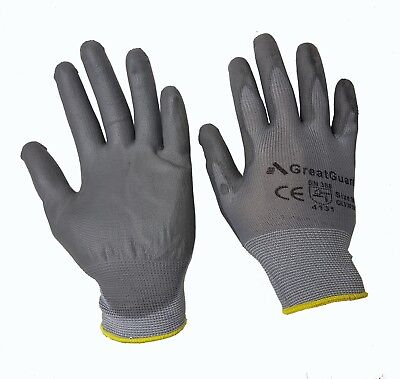 PU Coated Safety Gloves Work Gloves Hand Protection 12 Pairs Size Medium