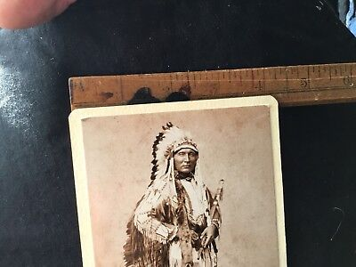 CDV Of Indian In Full Dress With Peace Pipe