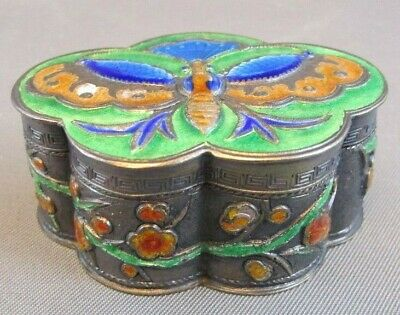 VTG BUTTERFLY CHERRY BLOSSOMS Chinese Silver Cloisonne Enamel Trinket Pill Box