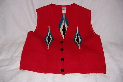 Vintage Ortega's hand woven X-Large 100% all wool Vest from Chimayo, New Mexico