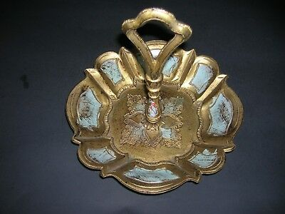Vintage Italian painted gold Tole Florentine Candy Dish /Serving Tray Resin
