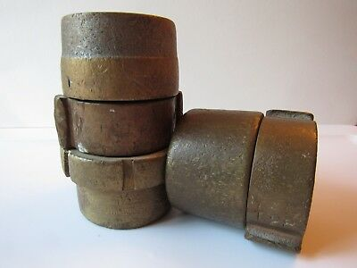 2 Vintage Wooster Brass Fire Hose Coupling Connectors Nice Display Pieces