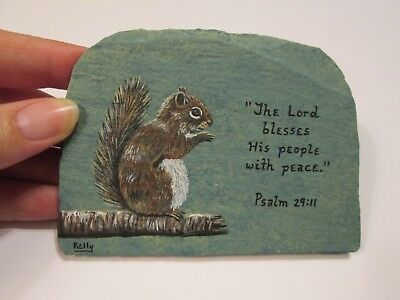 Squirrel and Bible Verse hand painted on slate by Ann Kelly