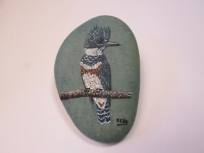 Belted Kingfisher Bird hand painted on a rock by Ann Kelly