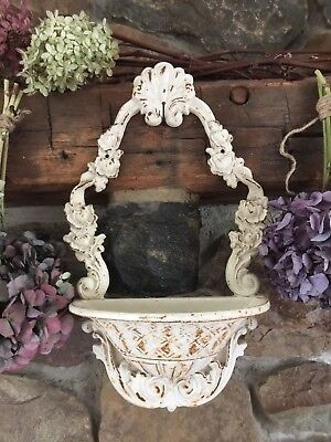 SHABBY Antique~Vintage STYLE Distressed White Cast Iron Wall Planter~Sconce
