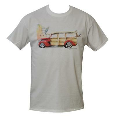 T Shirt Surf Hot Rod MENS WHITE ALL SIZES S TO 3XL Vintage Surfboard Car