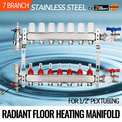 "7 Branch/Loop 1/2"" Pex Radiant Floor Heating Manifold Set Anti-corrosion"