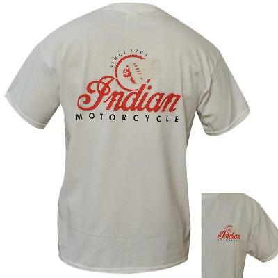 T Shirt Indian MotorCycles MENS WHITE ALL SIZES S TO 3XL biker motorbike vintage