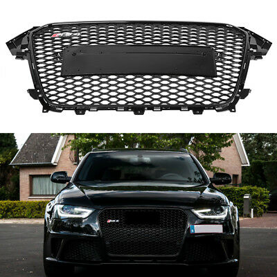 Honeycomb Mesh ABS Front Gloss Black Grill for Audi A4/S4 B8.5 2013-16 RS4 Style