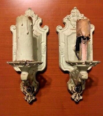 Vtg 1920s Pair Of Art Deco Gothic Wall Sconce Light Fixtures Shabby White Paint
