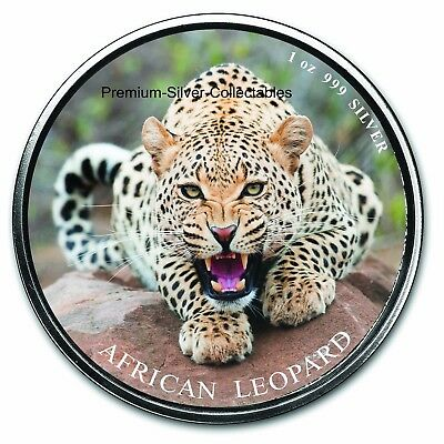 2017 Republic of Ghana 5 Cedi Leopard - 1 Ounce Pure Silver Colorized Coin