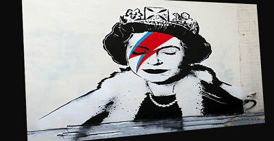 Street Art  Framed Poster Canvas Print BANKSY  painting QUEEN