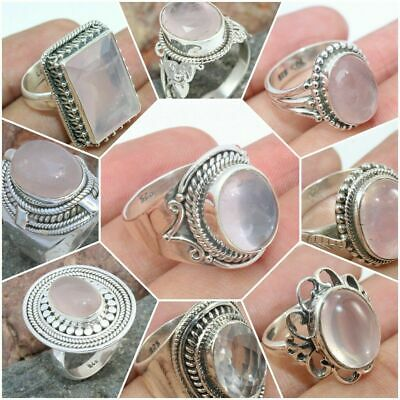 925 Solid Sterling Silver Handmade Jewelry Rose Quartz Rings For Valentine Gift