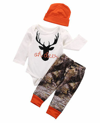 US Newborn Baby Boy Girl Deer Romper Wildlife Pants Hat 3pcs Outfits Set Clothes