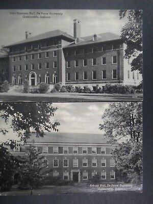 LOT OF 2 VINTAGE POSTCARD VIEWS OF DePAUW UNIV., GREENCASTLE, IN, 1940'S