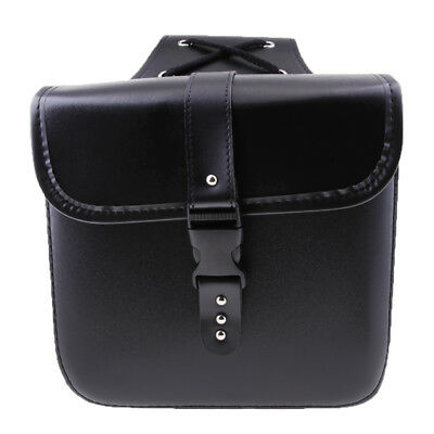 Waterproof Motorcycle PU Leather Saddle Bags Storage Tool Pouch Black