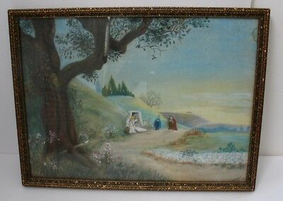Vintage Primitive Pencil/Chalk Drawing Picture Painting, RELIGIOUS EASTER/Christ