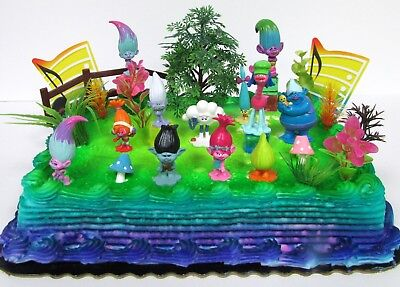 Trolls 20 Piece Themed Birthday Cake Topper Set Featuring POPPY And Friends NEW