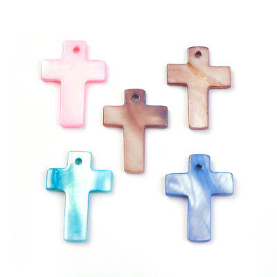 100pcs Colorful Shell Cross Pendants Smooth Dangle Charms Findings Craft 22~23mm