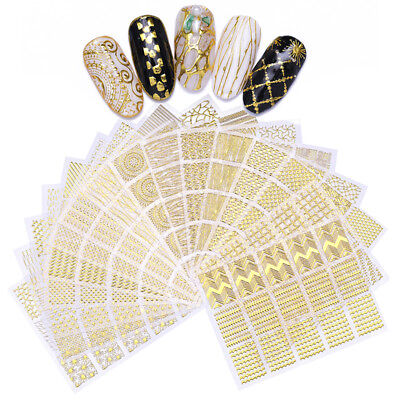 3D Nail Sticker Gold Geometric Heart Star Stripes Wave Transfer Nail Stickers