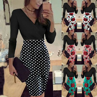 Womens V Neck Long Sleeve Floral Dot Bodycon Ladies Party Office Work Midi Dress